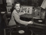 Peg Bolger n the studios at Radio Hall in the 1940s. Credit: UW Archives, image S08156