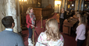 Jessica Arp providing a tour of the State Assembly