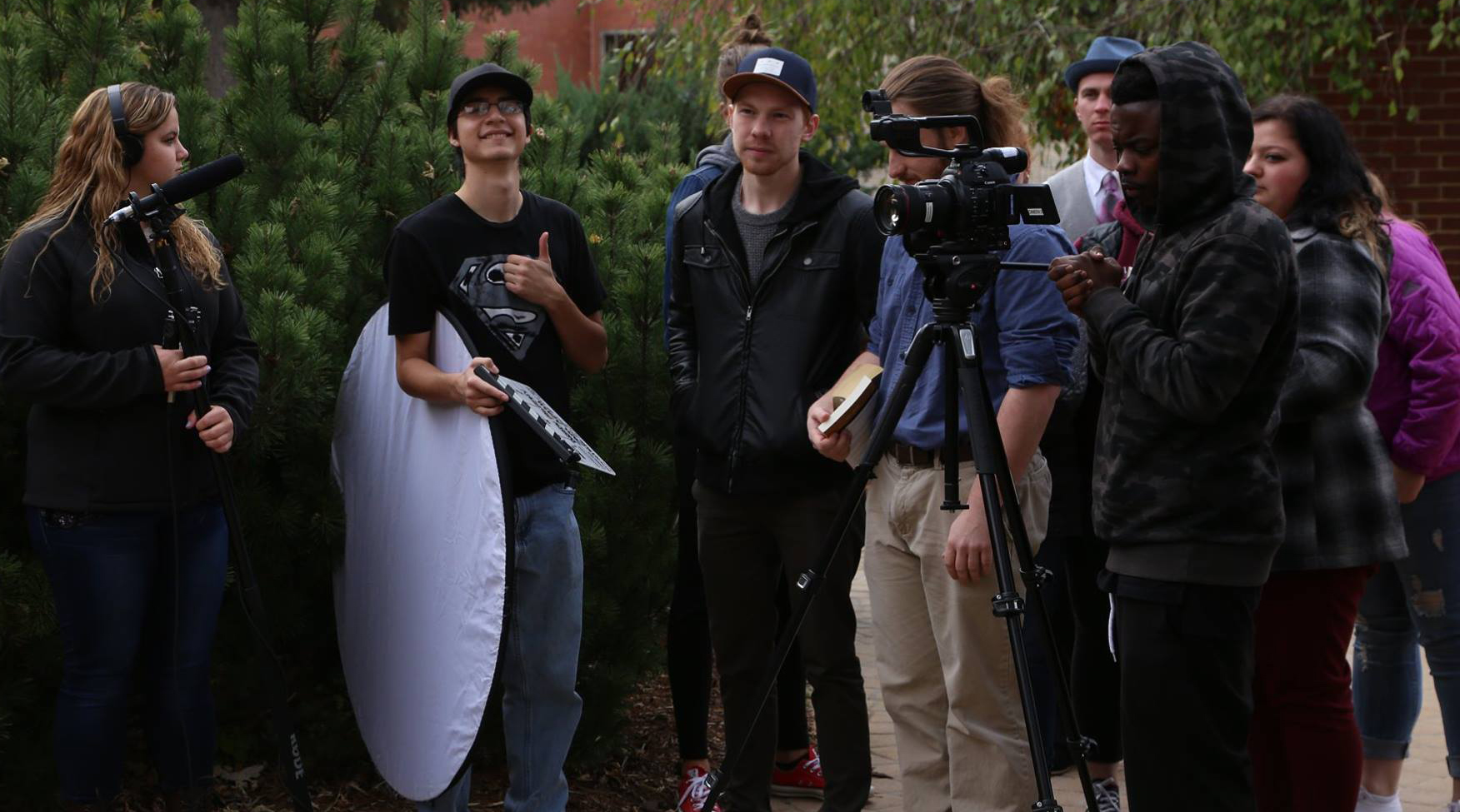 Students learn to deliver on 21st century platforms - Production crew on location. Fall 2016.